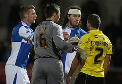 Bristol Rovers' John-Joe OToole goes head to head with Burton Albion's Phil Edwards- Photo mandatory by-line: Matt Bunn/JMP - Tel: Mobile: 07966 386802 23/11/2013 - SPORT - Football - Burton - Pirelli Stadium - Burton Albion v Bristol Rovers - Sky Bet League Two