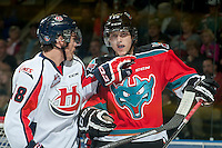 KELOWNA, CANADA - OCTOBER 11: Brett Kitt #18 of Lethbridge Hurricanes has a word with Tomas Soustal #15 of Kelowna Rockets after the whistle during first period on October 11, 2014 at Prospera Place in Kelowna, British Columbia, Canada.   (Photo by Marissa Baecker/Shoot the Breeze)  *** Local Caption *** Brett Kitt; Tomas Soustal;