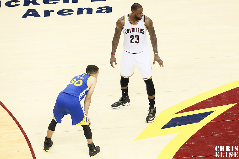 10 June 2016: Cleveland Cavaliers forward LeBron James (23) is seen next to Golden State Warriors guard Stephen Curry (30) during the Golden State Warriors 108-97 victory over the Cleveland Cavaliers, during Game Four of the 2016 NBA Finals at the Quicken Loans Arena, Cleveland, Ohio, USA.