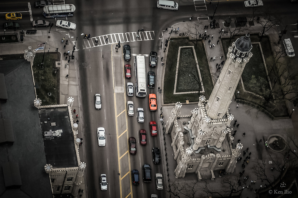 Chicago's Water Tower viewed from above.  This historical landmark in Chicago's Magnificent Mile is one of the few surviving buildings of the Great Fire of 1871.  It is now transformed into a tourist information center and gallery,