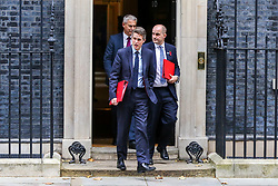 © Licensed to London News Pictures. 29/10/2019. London, UK. Secretary of State for Education GAVIN WILLIAMSON (front), Minister of State for The Northern Powerhouse and Local Growth JAKE BERRY (R) and Brexit Secretary STEPHEN BARCLAY (rear) departs from No 10 Downing Street after attending the weekly cabinet meeting. Photo credit: Dinendra Haria/LNP