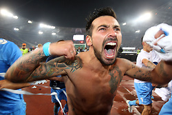 20.05.2012, Stadio Olympico, Rom, ITA, TIM Cup, Juventus Turin vs SSC Neapel, Finale, im Bild Esultanza di Ezequiel Lavezzi Napoli, Celebration // during the final football match of Italian TIM Cup between Juventus Turin and SSC Neapel at Stadio Olympico, Rome, Italy on 2012/05/20. EXPA Pictures © 2012, PhotoCredit: EXPA/ Insidefoto/ Paolo Nucci..***** ATTENTION - for AUT, SLO, CRO, SRB, SUI and SWE only *****