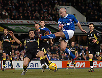 Photo: Ashley Pickering.<br />Ipswich Town v Birmingham City. Coca Cola Championship. 01/01/2007.<br />Ipswich's Matt Richard's (blue) miss-times a shot on goal