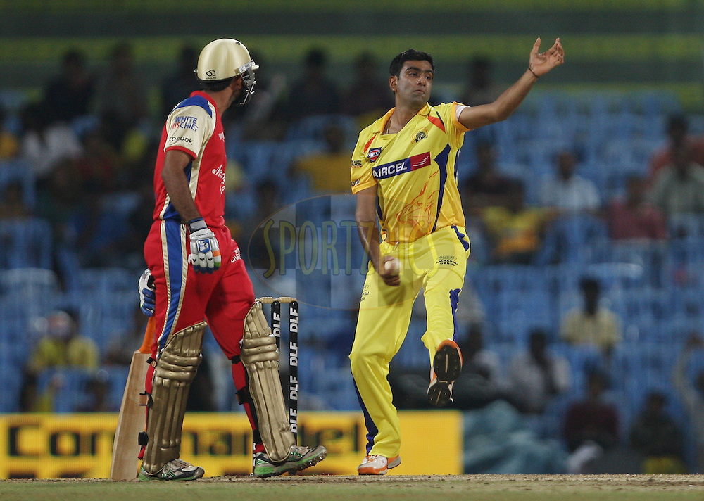 Ravichandran Ashwin during match 14 of the Indian Premier League ( IPL ) Season 4 between the Chennai Superkings and The Royal Challengers Bangalore held at the MA Chidambaram Stadium in Chennai, Tamil Nadu, India on the 16th April 2011..Photo by Jacques Rossouw/BCCI/SPORTZPICS .