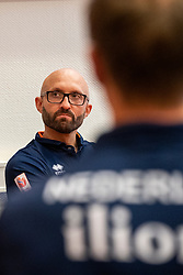 14-05-2019 NED: Press moment national volleyball team Women, Arnhem<br /> Jamie Morrison, the national coach of the Dutch women team, gives an overview of the group matches of the VNL, the OKT, Worldcup and the European Championship played in Hungary / Coach Jamie Morrison of Netherlands