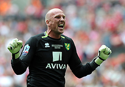 Norwich City's John Ruddy celebrates goal number two for Norwich  - Photo mandatory by-line: Joe Meredith/JMP - Mobile: 07966 386802 - 25/05/2015 - SPORT - Football - London - Wembley Stadium - Middlesbrough v Norwich - Sky Bet Championship - Play-Off Final