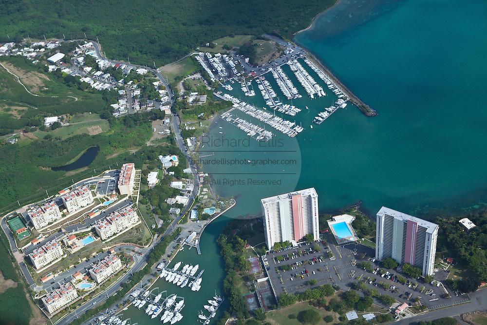 Aerial view of Fajardo Puerto del Rey marina Puerto Rico.