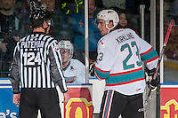 KELOWNA, CANADA - MARCH 5: Justin Kirkland #23 of Kelowna Rockets speaks to the linesman as he enters the penalty box against the Kamloops Blazers on March 5, 2016 at Prospera Place in Kelowna, British Columbia, Canada.  (Photo by Marissa Baecker/Shoot the Breeze)  *** Local Caption *** Justin Kirkland;