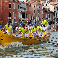 "VENICE, ITALY - SEPTEMBER 05:  Rowers on traditional Venetian boats ""Caorline"" take part in one of the races of the  Historic Regata on September 5, 2010 in Venice, Italy. The Historic Regata is the most exciting rowing race on the Gran Canal for the locals and one of the most spectacular ***Agreed Fee's Apply To All Image Use***.Marco Secchi /Xianpix. tel +44 (0) 207 1939846. e-mail ms@msecchi.com .www.marcosecchi.com"
