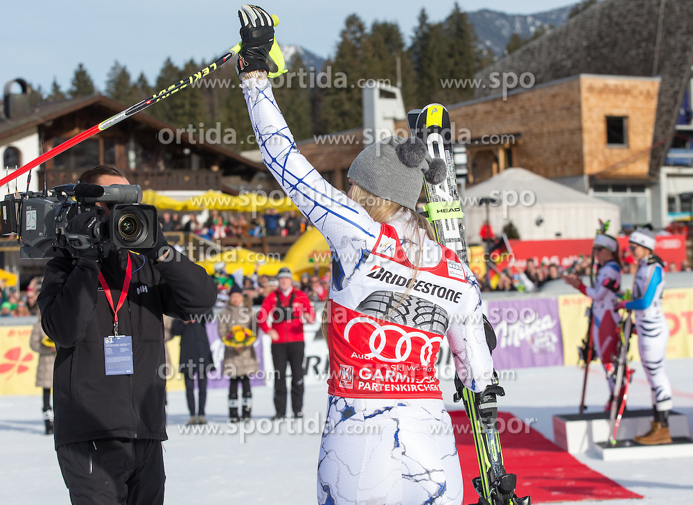 06.02.2016, Kandahar, Garmisch Partenkirchen, GER, FIS Weltcup Ski Alpin, Abfahrt, Damen, Siegerehrung, im Bild Lindsey Vonn (USA, 1. Platz) // winner Lindsey Vonn of the USA on podium during the award winner ceremony for the ladies Downhill of Garmisch FIS Ski Alpine World Cup at the Kandahar course in Garmisch Partenkirchen, Germany on 2016/02/06. EXPA Pictures © 2016, PhotoCredit: EXPA/ Johann Groder