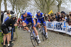 The peloton led by Tim Declercq (BEL) Deceuninck-Quick Step on the Padderstraat during the 2019 Ronde Van Vlaanderen 270km from Antwerp to Oudenaarde, Belgium. 7th April 2019.<br /> Picture: Eoin Clarke | Cyclefile<br /> <br /> All photos usage must carry mandatory copyright credit (© Cyclefile | Eoin Clarke)
