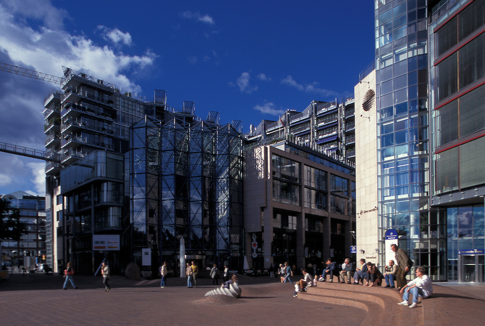Europe, Norway, Modern architecture at Aker Brygge mall along downtown Oslo waterfront.