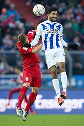 16.01.2016, Wildparkstadion, Karlsruhe, GER, Testspiel, Karlsruher SC vs FC Bayern Muenchen, im Bild Mohamed Gouaida (Karlsruher SC) im Kopfballduell mit Joshua Kimmich (FC Bayern Muenchen) // during a preperation Football Match between Karlsruher SC and FC Bayern Munich at the Wildparkstadion in Karlsruhe, Germany on 2016/01/16. EXPA Pictures © 2016, PhotoCredit: EXPA/ Eibner-Pressefoto/ Neis<br /> <br /> *****ATTENTION - OUT of GER*****