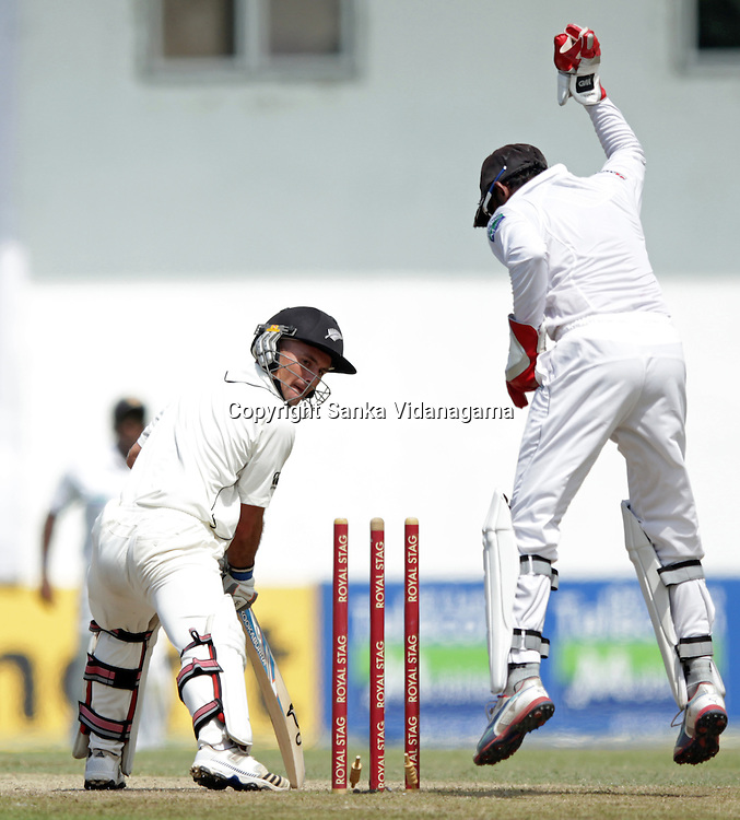 New Zealand Van Wyk looks back after being bowled during the second day of the second and final Test match between Sri Lanka and New Zealand at the P. Sara Oval Cricket Stadium in Colombo on November 26, 2012.
