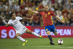 October 6, 2017 - Alicante, Spain - Silva (Manchester CIty) and Ergys Kace during the qualifying match for the World Cup Russia 2018 between Spain and Albaniaat the Jose Rico Perez stadium in Alicante, Spain on October 6, 2017. (Credit Image: © Jose Breton/NurPhoto via ZUMA Press)