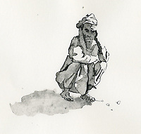 A Reportage Illustrator's view of a man in Mali