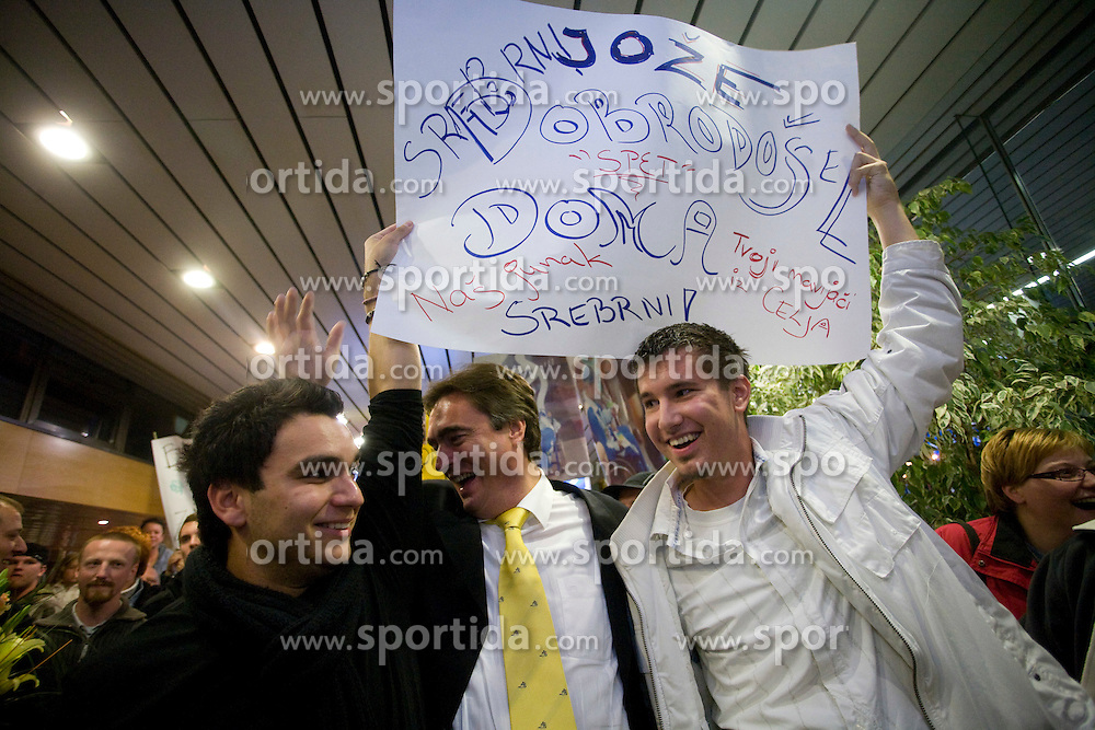 Fans and minister Milan Zver at welcome ceremony for paraolympic sportsmen at Airport Joze Pucnik, on September 20, 2008, in Brnik, Slovenia. (Photo by Vid Ponikvar / Sportal Images)./ Sportida)
