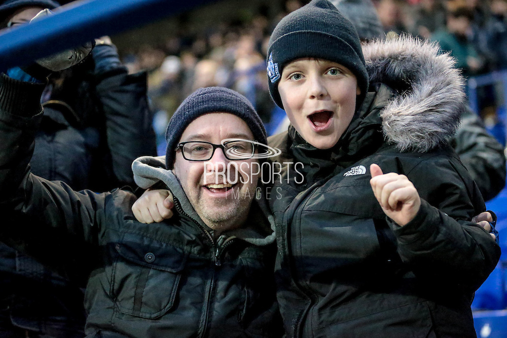 Tranmere fans celebrate the 1-0 win at the final whistle during the Vanarama National League match between Tranmere Rovers and Southport at Prenton Park, Birkenhead, England on 6 February 2016. Photo by Mark P Doherty.