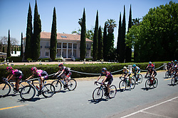 The break rides past the Grand Island Mansion during Stage 1 of the Amgen Tour of California - a 124 km road race, starting and finishing in Elk Grove on May 17, 2018, in California, United States. (Photo by Balint Hamvas/Velofocus.com)