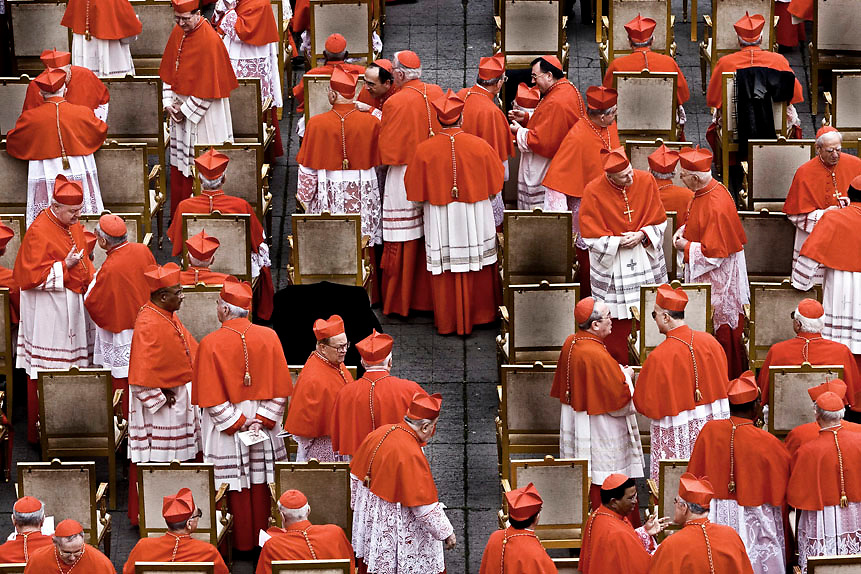 Cardinals chat before  cardinals elevation ceremony in St.Peter's Square at the Vatican. Pope Benedict XVI elevated today 12 new cardinals,during his first concistory of his papacy friday, march 24 2006 in St.Peter's Square at the Vatican.