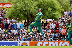 July 29, 2018 - Dambulla, Sri Lanka - South African cricketer Tabraiz Shamsi celebrates after taking a wicket during the 1st One Day International cricket match between Sri Lanka and South Africa at Rangiri Dambulla International Stadium, Dambulla, Sri Lanka on Sunday 29 July 2018  (Credit Image: © Tharaka Basnayaka/NurPhoto via ZUMA Press)