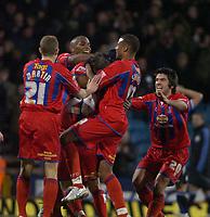 Photo: Matt Bright/Sportsbeat Images.<br /> Crystal Palace v Sheffield Wednesday. Coca Cola Championship. 15/12/2007.<br /> Crystal Palace Palace Team celebrate the winning goal