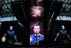 June 16, 2017 - Milan, Italy - The Italian pop singer Tiziano Ferro pictured on stage as he performs at Stadio Giuseppe Meazza San Siro. (Credit Image: © Roberto Finizio/Pacific Press via ZUMA Wire)
