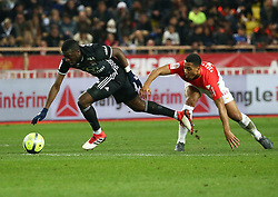 FONTVIEILLE, Feb. 5, 2018  Youri Tielemans (R) of Monaco vies with Ferland Mendy of Lyon during a French Ligue 1 football match between Monaco and Lyon in Fontvieille, Monaco, on Feb. 4, 2018. Monaco won 3-2. (Credit Image: © Serge Haouzi/Xinhua via ZUMA Wire)
