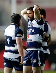 Bristol Rugby replacement Nicky Robinson looks frustrated - Photo mandatory by-line: Rogan Thomson/JMP - 07966 386802 - 20/05/2015 - SPORT - Rugby Union - Bristol, England - Ashton Gate Stadium - Bristol Rugby v Worcester Warriors - Greene King IPA Championship Play-Off Final 1st Leg.