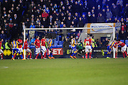 GOAL! Shaun Whalley of Shrewsbury Town nods home to make it 2-1 during the Sky Bet League 1 match between Shrewsbury Town and Coventry City at Greenhous Meadow, Shrewsbury, England on 8 March 2016. Photo by Mike Sheridan.