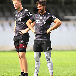 DURBAN, SOUTH AFRICA - APRIL 13: Daniel Du Preez of the Cell C Sharks with Kobus van Wyk of the Cell C Sharks during the Cell C Sharks captains run at Jonnsons Kings Park on April 13, 2017 in Durban, South Africa. (Photo by Steve Haag/Gallo Images)