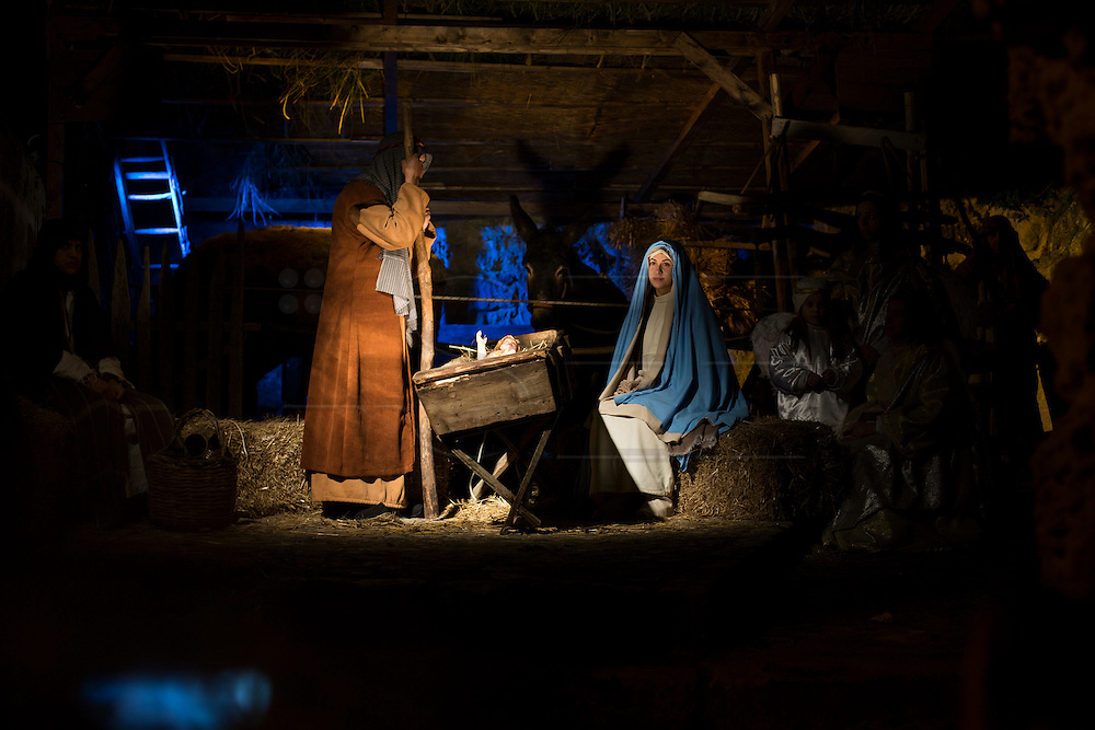 View of Sassi di Matera celebrating a living Nativity.