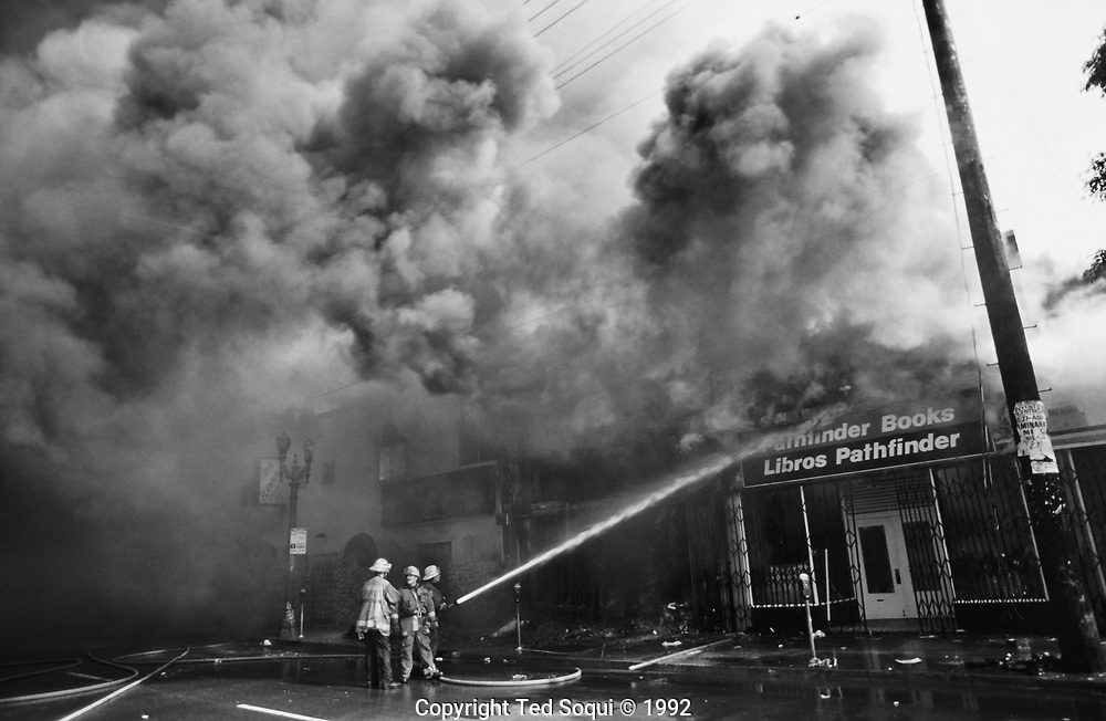 The Pathfinder bookstore on the 2500 block of Pico Blvd.burns down in the Pico/Union area of Los Angeles.