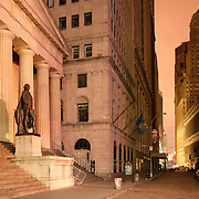 November 2, 2012 - New York, NY : Lower Manhattan soldiered through it's fourth consecutive night without electricity in the wake of Super Storm Sandy. Pictured here, a minute-long exposure captures the statue of George Washington at Federal Hall on Wall Street, early on Friday morning. CREDIT: Karsten Moran / Aurora Photos