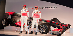NEWBURY, ENGLAND - Friday, January 29, 2010: Vodafone McLaren Mercedes Drives Jenson Button and Lewis Hamilton during the Car Presentation. (Pic by Kirsten Holst/Propaganda/Hoch Zwei)