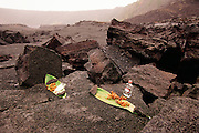 Gin offering to Pele, Kilauea Volcano, HVNP, Big Island of Hawaii