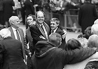 Paddy Hill  with solicitor and others  of the Birmingham Six speaks to supporters following their release from the Court in London. 14/3/1991 (Part of the Independent Newspapers Ireland/NLI Collection)