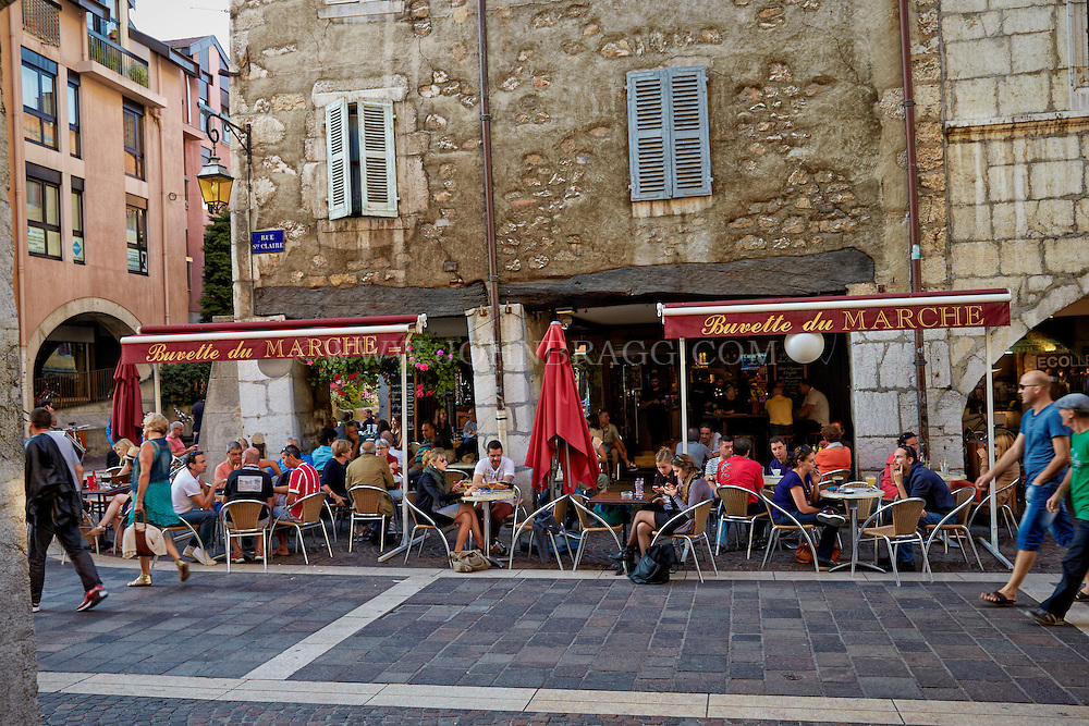 An view outside of La Buvette du Marche, a traditional French Cafe well known for their breakfast, Old Town Annecy, France.
