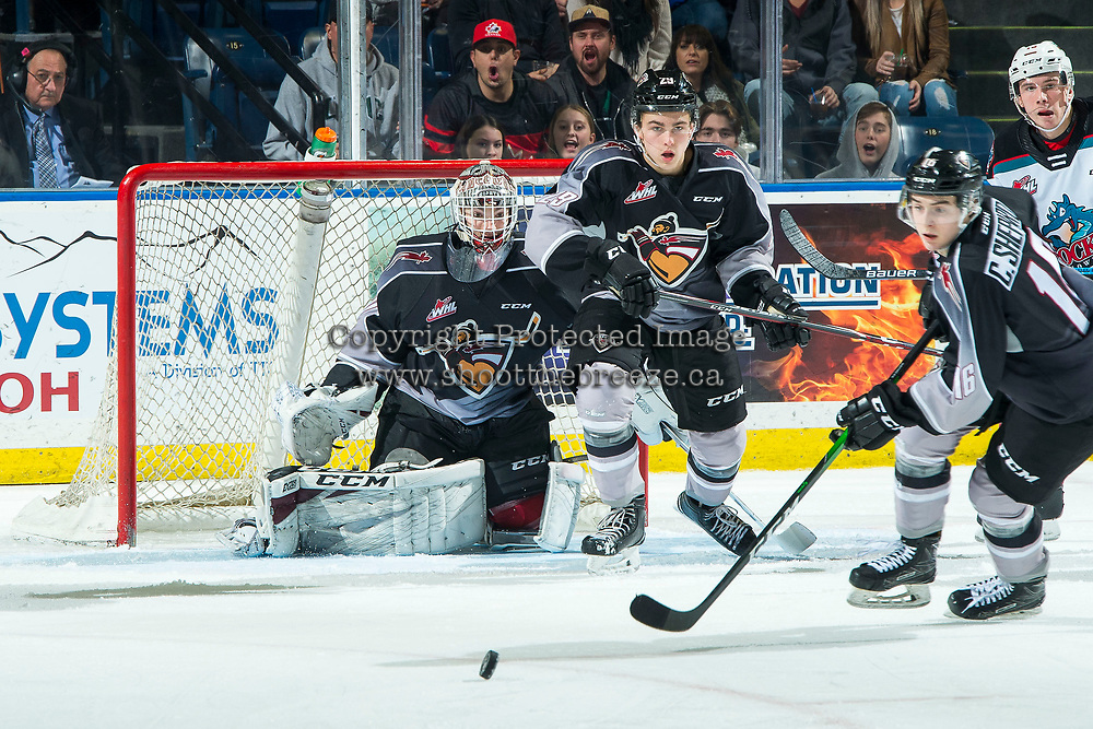 KELOWNA, BC - JANUARY 4: David Tendeck #30 and Tanner Brown #29 defend the net as Cole Shepard #16 of the Vancouver Giants clears the puck from the zone against the Kelowna Rockets at Prospera Place on January 4, 2020 in Kelowna, Canada. (Photo by Marissa Baecker/Shoot the Breeze)