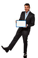 one caucasian business man holding showing whiteboard full length in studio isolated on white background