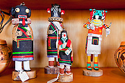 25 FEBRUARY 2010 -- WINSLOW, AZ: Kachinas in the visitor center and gift shop at Homolovi Ruins State Park north of Winslow. The park closed on Feb 22. The park's employees will spend the next few days packing up the park's exhibits but worry that the park's vulnerable archeological sites will be plundered by vandals and relic hunters when the park is vacant.     PHOTO BY JACK KURTZ