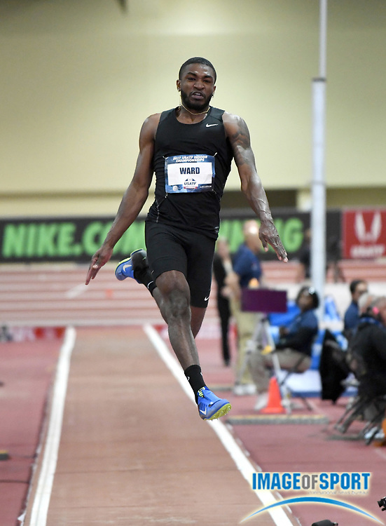 Mar 4, 2017; Albuquerque, NM, USA: La'Derrick Ward wins the long jump at 26-0 1/4 (7.93m) during the USA Indoor Championships at Albuquerque Convention Center.