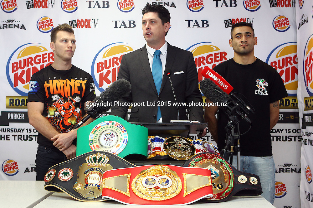 (L to R) Jeff Horn, MC Craig Stanawau and Alfredo Blanco, Burger King, Road to the Title press conference ahead of Thursdays boxing event. Burger king Lincoln Rd, Auckland. 13 October 2015. Copyright Photo: William Booth / www.photosport.nz