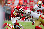 KANSAS CITY, MO - SEPTEMBER 26:   Jamaal Charles #25 of the Kansas City Chiefs is tackled by Aubrayo Franklin #92 of the San Francisco 49ers at Arrowhead Stadium on September 26, 2010 in Kansas City, Missouri.  The Chiefs defeated the 49ers 31-10.  (Photo by Wesley Hitt/Getty Images) *** Local Caption *** Jamaal Charles; Aubrayo Franklin