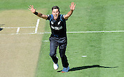 Trent Boult celebrates his second wicket during the ICC Cricket World Cup match between New Zealand and Scotland at university oval in Dunedin, New Zealand. Photo: Richard Hood/photosport.co.nz