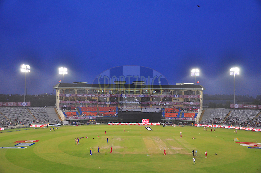 A top view of ground during match 25 of the the Indian Premier League ( IPL) 2012  between The Kings X1 Punjab and The Royal Challengers Bangalore India held at the Punjab Cricket Association Stadium, Mohali on the 20th April 2012..Photo by Arjun Panwar/IPL/SPORTZPICS