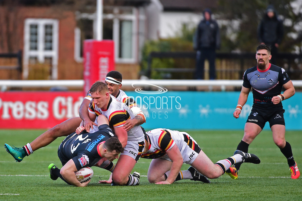 London Broncos Matthew Gee (23) in action during the Kingstone Press Championship match between London Broncos and Bradford Bulls at Trailfinders Sports Club, Vallis Way, United Kingdom on 5 March 2017. Photo by Jon Bromley.