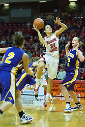 01 January 2011: Hannah Spanich offers a one-handed left-handed shot  during an NCAA Women's basketball game between the Northern Iowa Panthers and the Illinois State Redbirds at Redbird Arena in Normal Illinois.