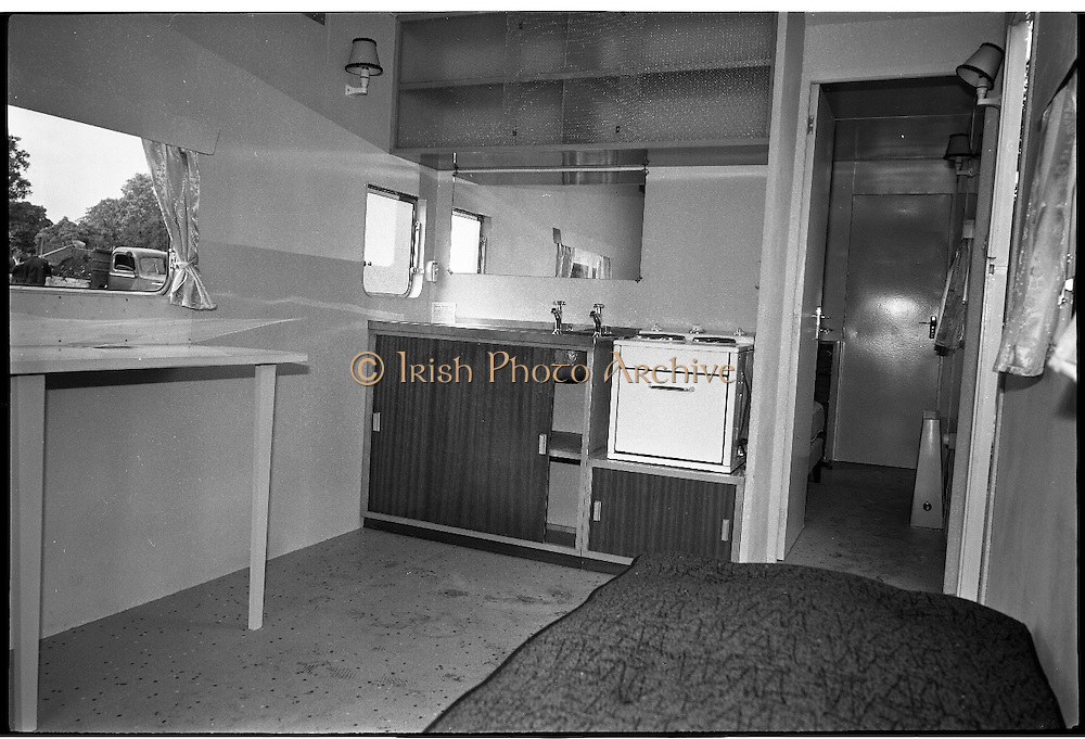 Caravan Dwellings..1963..03.10.1963..10.03.1963..3rd October 1963..Because families were being evacuated from potentially dangerous buildings in Dublin City , temporary mobile home accomodation was provided. The residents would live in the homes until the new blocks of flats were ready to accomodate them. These images were taken at Donnybrook, Dublin...Image shows the interior view of one of the caravans which would be used to temporarily house the evacuated families. The caravans were supplied by Shannon Caravans.