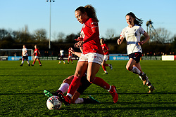 Ebony Salmon of Bristol City is challenged by Becky Jane of Liverpool Women - Mandatory by-line: Ryan Hiscott/JMP - 19/01/2020 - FOOTBALL - Stoke Gifford Stadium - Bristol, England - Bristol City Women v Liverpool Women - Barclays FA Women's Super League